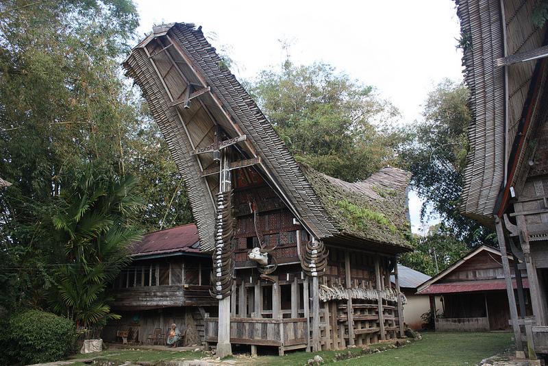 インドネシア、Toraja地域の伝統的な家